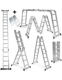 Escalera multifunción 6 en 1 de aluminio 4,75M Plegable con Plataforma