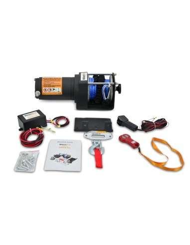 Cabrestante Electrico 12v 1360Kg Cuerda Sintética con Mando a Distancia y Placa de Montaje