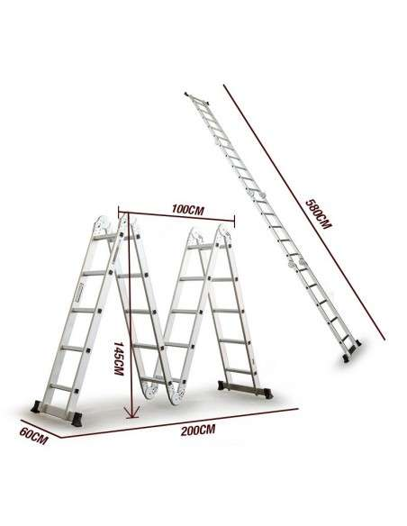 Escalera Multifunción de aluminio 5,75M Plegable 6 en 1 Multiuso