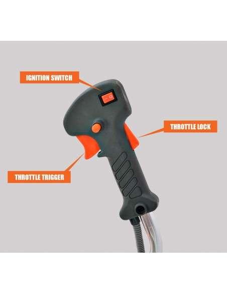 Spark - Desbrozadora De Gasolina 52cc, Multifuncional 3 En 1, 2.21HP/1650W, Arnés Y Casco De Seguridad, 3 Cabezas, Motor De Gasolina De 2 Tiempos