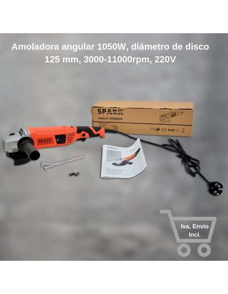 Spark - Amoladora angular 1050W, diámetro de disco 125 mm, 3000 - 11000rpm velocidad variable, 220V, mango auxiliar regulable