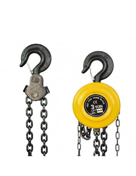 Polipasto Manual de Cadena, Polipasto de Cadena 3000Kg, 3 Metros, Equipo de Elevación del Extractor (3.0t/3000kg)