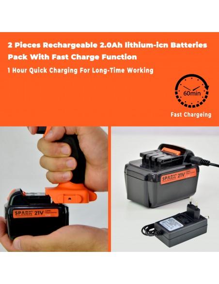 Spark - Taladro Percutor a Batería, 21V, 2 piezas de Batería Litio 2.0Ah, Destornillador Eléctrico, 18+2 Ajustes de Par, Carga Rápida