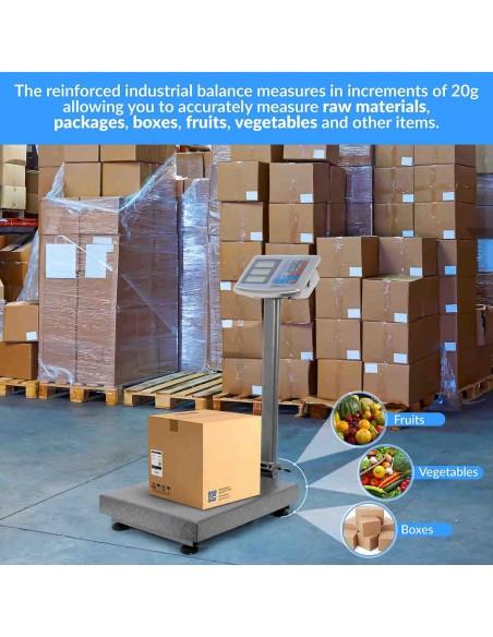 AgoraDirect - Báscula Industrial De Plataforma 250kg/20g, Plegable, Pantalla LCD Digital De Doble Cara, Plataforma De Acero Tratada Térmicamente 35x45cm, Balanza Industrial Para Paquetería