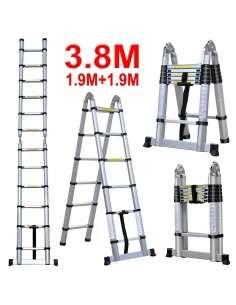 Escalera de Aluminio Telescopica 3,8M Multiuso Multifuncional Plegable