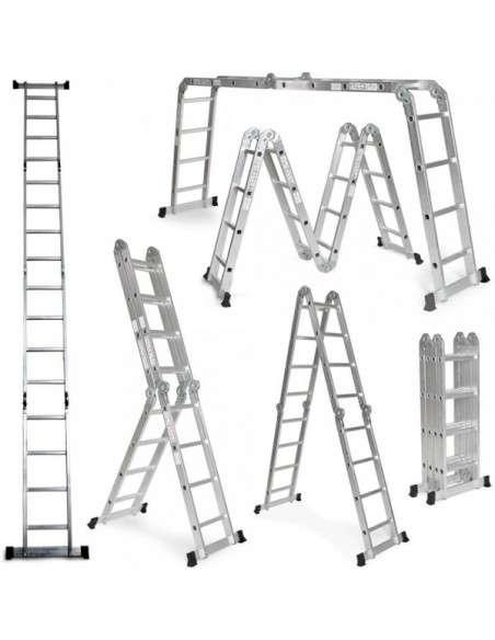 Grandmaster - Escalera De Aluminio Plegable 475cm, Multifuncional 6 En 1, Carga Máxima 150kg, Diseño Antideslizante, Tamaño Plegado 126x63x27cm