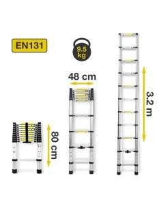 Escalera Telescópica de Aluminio  Plegable 3,2M