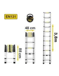 Escalera Telescópica de Aluminio  Plegable 3,8M