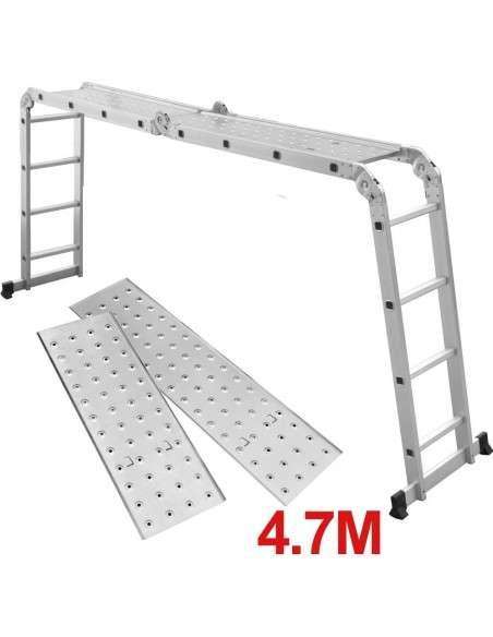 Grandmaster - Escalera De Aluminio Plegable 475cm, Escalera Multifuncional 6 En 1, Plataforma Incluida, Carga Máxima 150kg, Diseño Antideslizante, Tamaño Plegado 126x63x27cm