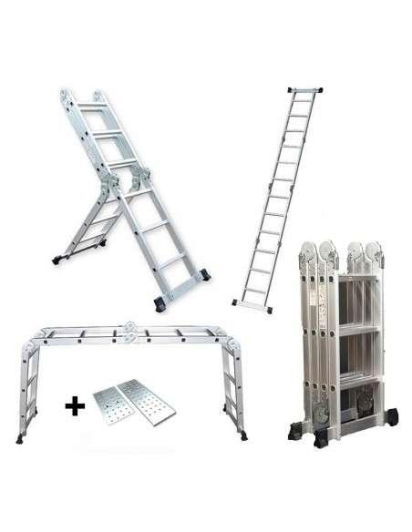 Escalera multifunción 6 en 1 de aluminio 3,70M Plegable con Plataforma